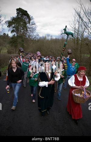 Bottle kicking procession, Leicestershire, UK. Easter Monday, 2010 - Stock Photo