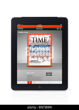 Apple iPad 3G tablet with Time Magazine facebook related cover at app store on its display isolated on white background - Stock Photo