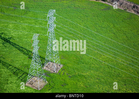 aerial view above electrical power transmission lines towers Sonoma county California - Stock Photo