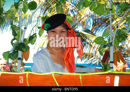 A happy local woman in traditional clothing in the city of Las Palmas capital of Gran Canaria, one of Spain's Canary - Stock Photo