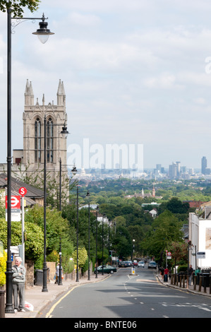 Gipsy Hill, Crystal Palace with the City of London in the distance - Stock Photo
