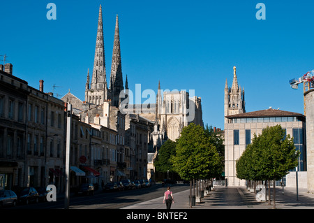 The spires of the Cathedral, Bordeaux, France - Stock Photo