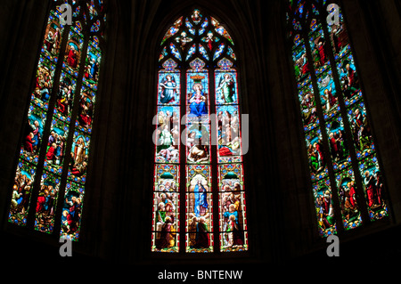 Stained glass windows in the Church Saint Pierre, Bordeaux, France - Stock Photo