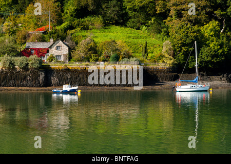 King Harry Ferry Cottage on the River Fal, South West, Cornwall, England, UK - Stock Photo