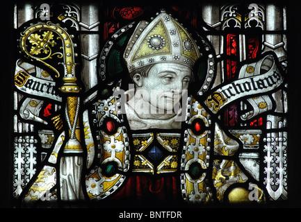 Saint Nicholas stained glass in South Aisle, Holy Trinity Church, Stratford-upon-Avon, Warwickshire, England, UK - Stock Photo