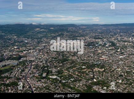 aerial view above San Salvador El Salvador central America - Stock Photo