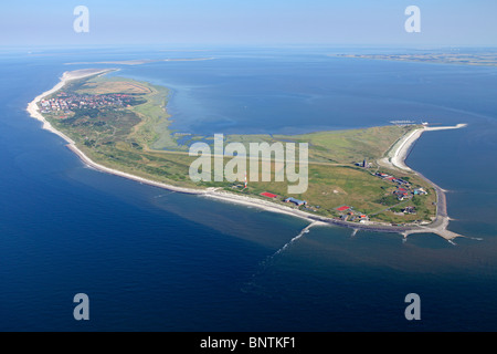 aerial photo of Wangerooge island, East Friesland, Lower Saxony, Germany - Stock Photo