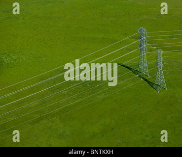 aerial view above electrical power transmission lines Sonoma county California - Stock Photo