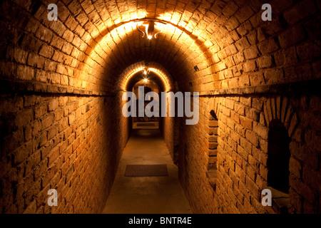 Dark hallway at Castello di Amorosa. Napa Valley, California. Property released - Stock Photo