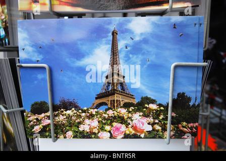 Paris postcard of the Eiffel Tower, France - Stock Photo