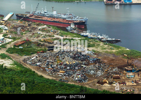 aerial view above scrap metal for recycling New Orleans Louisiana - Stock Photo