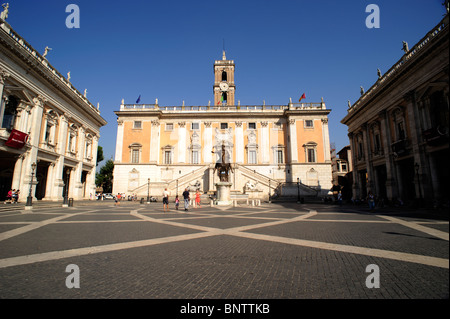 Italy, Rome, Piazza Del Campidoglio, Palazzo Senatorio   Stock Photo
