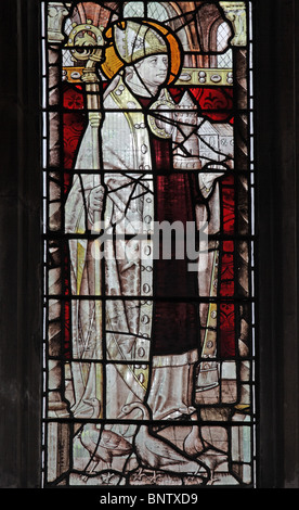 A stained glass window depicting Saint Martin of Tours as Bishop of Tours, St Mary's Church, Shrewsbury, Shropshire. - Stock Photo