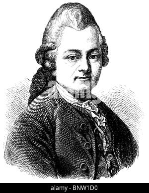Gotthold Ephraim Lessing (1729 – 1781), German writer, philosopher, dramatist, publicist, and art critic - Stock Photo