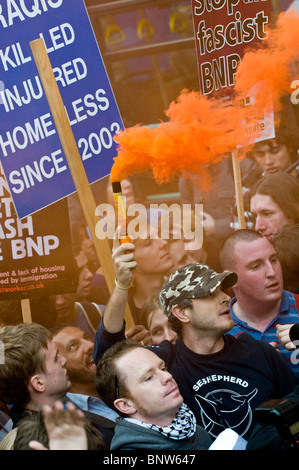 Protestors, against the inclusion of Nick Griffin of the BNP in BBC's Question Time, gather outside the Television - Stock Photo