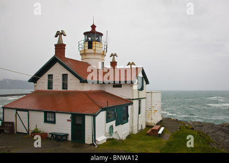 Battery Point Lighthouse on the Pacific Ocean northern California coast in Crecent City California - Stock Photo