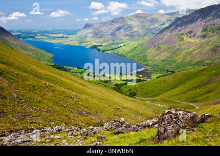 View over Wast Water from the Wasdale Head route up to Scafell Pike, Lake District, Cumbria, England, UK - Stock Photo