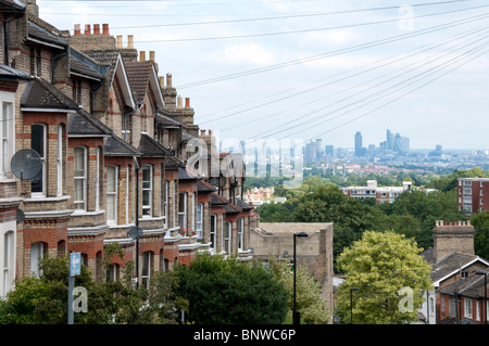 The City of London seen from Woodland Road in Crystal Palace, London - Stock Photo