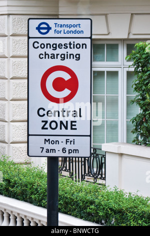 Transport for London, Congestion Charging Central Zone road sign, London England - Stock Photo