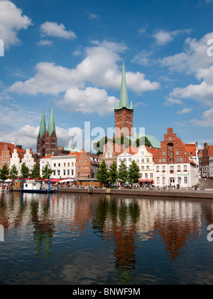 View of historic city of Lubeck in Germany - Stock Photo