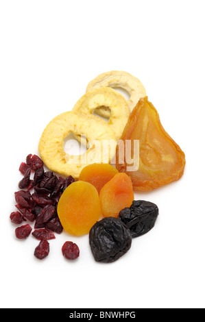 Dried Fruits (Pears, Apple Rings, Cranberries, Apricots, Prunes) - Stock Photo