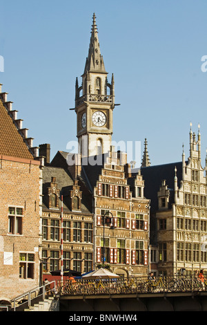 Belgium, Ghent, Gabled Gothic houses and Belfry of Ghent - Stock Photo