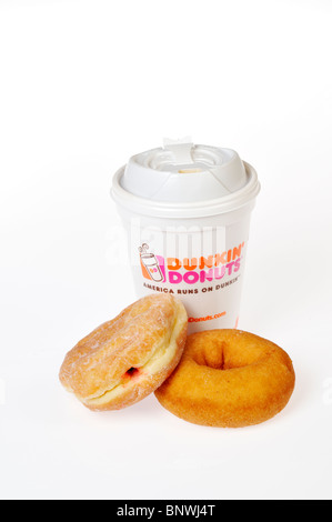 A hot cup of Dunkin Donuts Coffee with a plain and jelly donuts on a dunkin donuts napkin on a white background. - Stock Photo