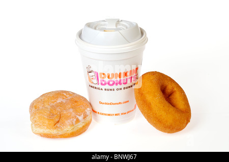 A hot cup of Dunkin Donuts Coffee with a plain and jelly donuts on a dunkin dounuts napkin on a white background. - Stock Photo