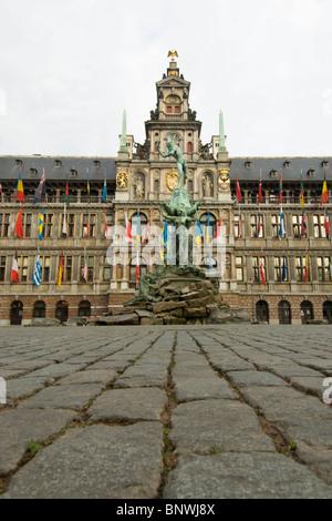 Belgium, Antwerp, Town Hall, Stadhuis, in City Square, Grote Markt - Stock Photo