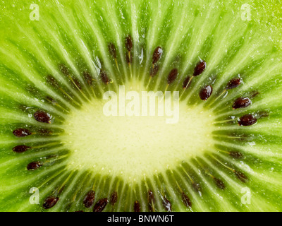 Cross section of kiwi fruit - Stock Photo