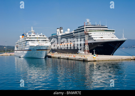 Tourist cruise ships in harbour on the Greek island of Corfu Greece GR - Stock Photo