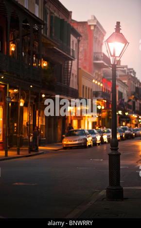 Bourbon Street New Orleans at night - Stock Photo