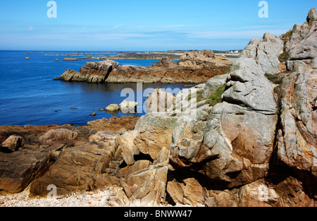 Rough coastline, rocks, north coast of Guernsey, Channel Islands, UK, Europe - Stock Photo