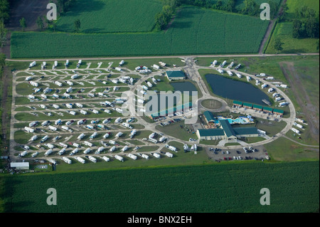aerial view above mobile home park Louisiana - Stock Photo