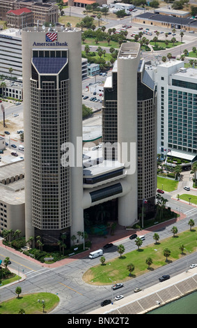 aerial view above American Bank tower Bayfront Hotel Corpus Christi Texas - Stock Photo