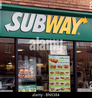 Subway restaurant in Hereford City, UK. Subway sandwich shop. - Stock Photo