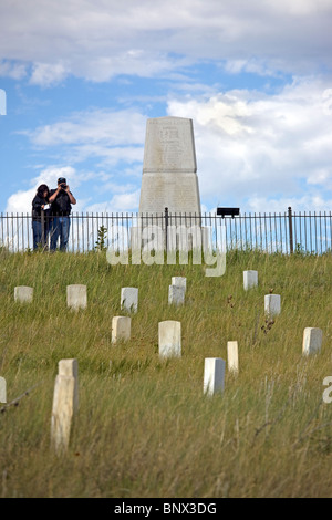 Markers on the spots where American soldiers were killed at Little Big Horn Battlefield National Monument, Montana. - Stock Photo