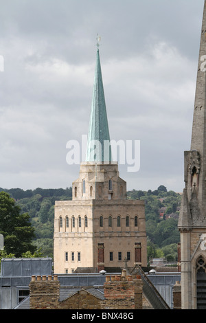 A photograph of Nuffield Tower in Oxford, England. - Stock Photo