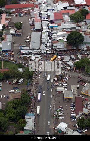 aerial view above bus stop market Managua Nicaragua - Stock Photo