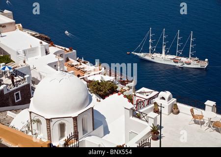 Wind Star's Wind Spirit Cruise Ship anchored off the Greek Isle of  Santorini © Myrleen Pearson - Stock Photo