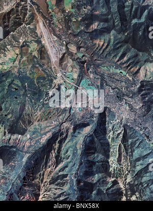 aerial map view above Aspen Colorado - Stock Photo