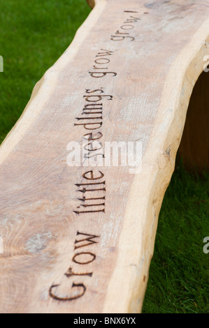 Wooden garden bench carved with the word 'Grow little seedlings grow grow' at RHS Harlow Carr - Stock Photo