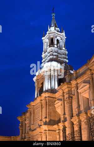 Cathedral at main square, Plaza de Armas, Arequipa, Peru, South America - Stock Photo