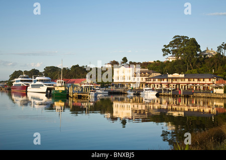 The harbour township of Strahan on Tasmania's west coast. Strahan, Tasmania, AUSTRALIA - Stock Photo