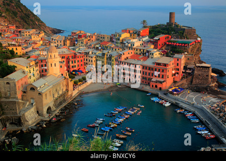 Afternoon in Vernazza marina. Vernazza is a small town in Italy's Cinque Terre National Park. - Stock Photo