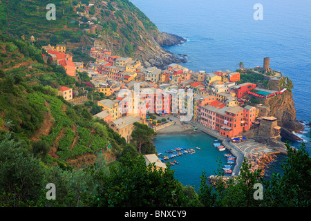 Late afternoon in Vernazza, a small town in Italy's Cinque Terre National Park. - Stock Photo
