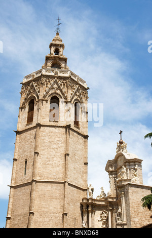 El Miguelete, the gothic bell tower of Valencia Cathedral in Spain - Stock Photo