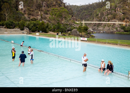 Swimming pool at the scenic First Basin in the Cataract Gorge. Launceston, Tasmania, AUSTRALIA - Stock Photo