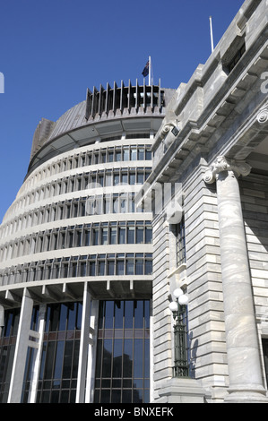 The Beehive And Parliament House In Wellington New Zealand - Stock Photo