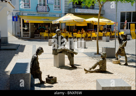 Portugal, The Algarve, Sculptures In The Main Square, Monchique - Stock Photo